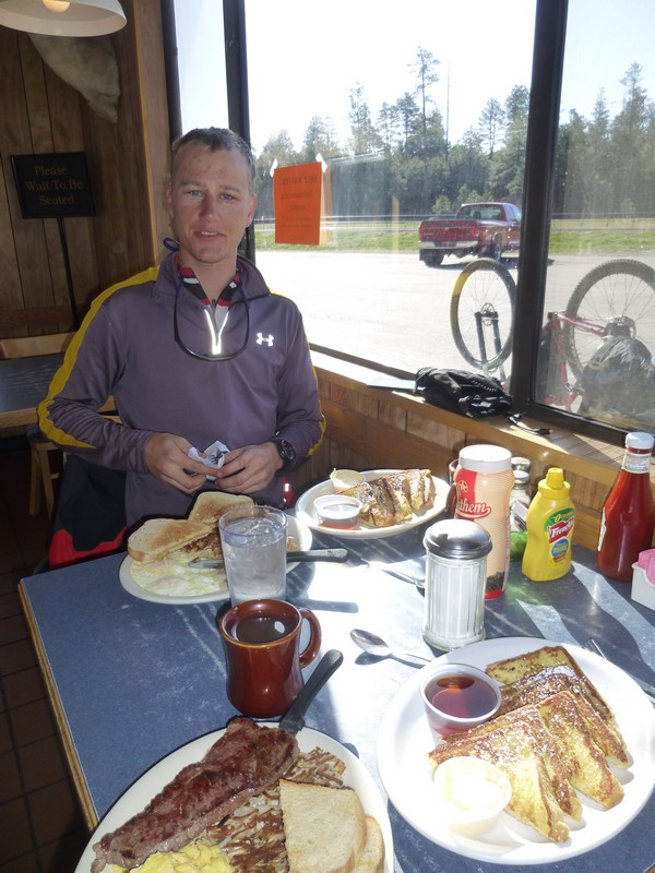 Big breakfast with forest at the Long Valley Cafe.
