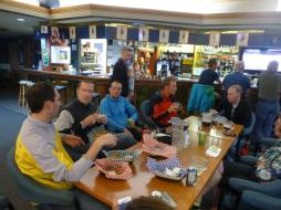 A group of us eating and having beers at the Canadian Legion. Seriously the cheapest place to eat in Banff. In the photo is Craig Stappler, Robin Schwartz, Forest Baker, Mike Hall and a few others I don't recognize.