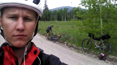 Jeff and I taking a Pit stop next to highway 1A. Great road ride into Canmore then bike path to Banff.