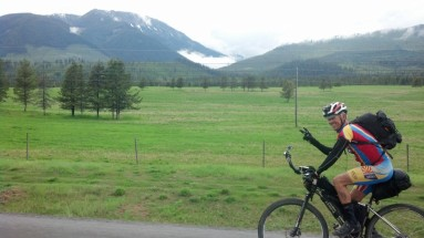 Riding with Max Morris into Sparwood.