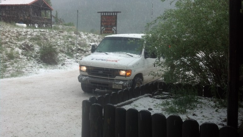 Major hail storm between Platoro and Horca.